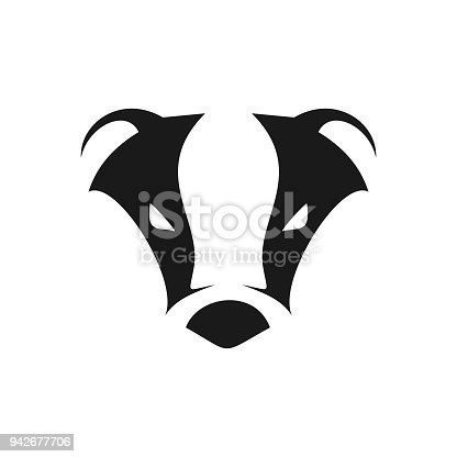 Abstract Cool Badger Head Symbol Vector Graphic Design