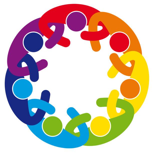 Abstract Cooperation People Mandala vector art illustration