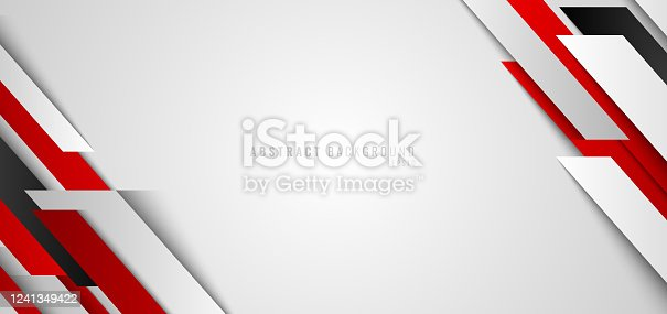 istock Abstract corporate banner web design red and white geometric diagonal on white background technology concept. 1241349422