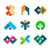 Abstract Corporate Block Symbol Design Set