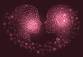 Abstract couple face silhouette with circles