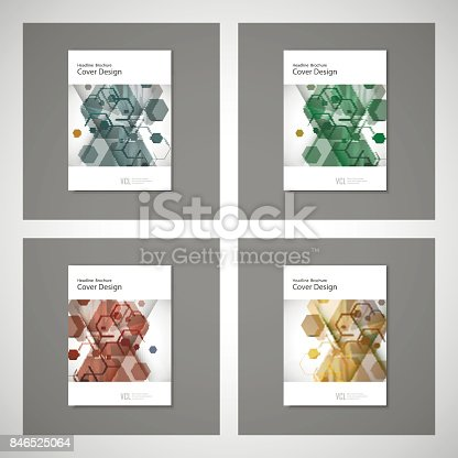 909923870istockphoto Abstract cover design, business brochure template layout, annual report, booklet or book in A4. Hexagonal geometric creative shapes 846525064