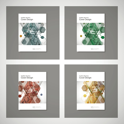 909923870 istock photo Abstract cover design, business brochure template layout, annual report, booklet or book in A4. Hexagonal geometric creative shapes 846525064