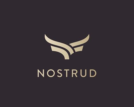 Abstract cow steak premium logo design. Creative bull horns line icon symbol. Luxury wings bird logotype.