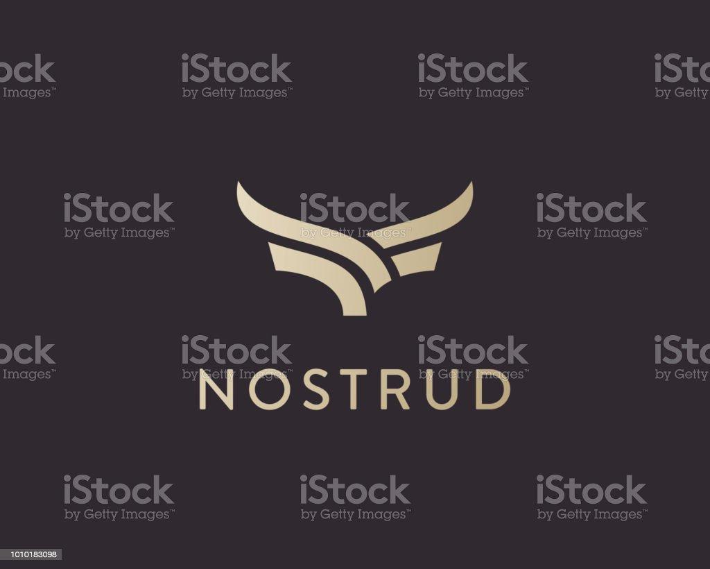 Abstract cow steak premium logo design. Creative bull horns line icon symbol. Luxury wings bird logotype. vector art illustration