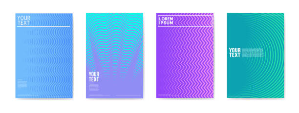 abstract creative cards placards posters set. trendy halftone gradient design for banners, cover, invitation. hipster brochure, flyer, leaflet. vector illustration - book patterns stock illustrations