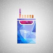 Abstract creative concept vector icon of cigarette. For web and mobile content isolated on background, unusual template design, flat silhouette object and social media image, triangle art origami