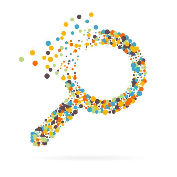 web ve mobil uygulamalar arka planda izole için büyüteç'in yaratıcı soyut kavram vektör simgesi. sanat çizim şablonu tasarım, iş infographic ve sosyal medya infographic - bulunuş stock illustrations