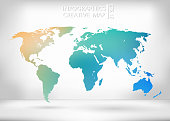 Abstract creative concept vector map of the world for Web and Mobile Applications isolated on background. Vector illustration, creative template design, Business software and social media, origami
