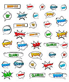 Abstract Creative concept vector pop art style set of comic text template with clouds beams and isolated dots pattern on background. For Web and Mobile Applications, illustration template design.