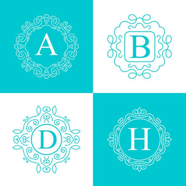 kreative abstraktes vektor retro-monogramm auf hintergrund isoliert. kunst abbildung vorlagendesign für restaurnat, café, hotel, immobilien, hochzeit und spa elegante süße feine emblem - monogrammarten stock-grafiken, -clipart, -cartoons und -symbole