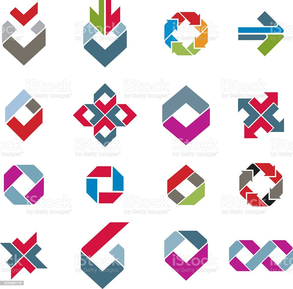 Abstract creative design elements vector collection, icona set vector art illustration