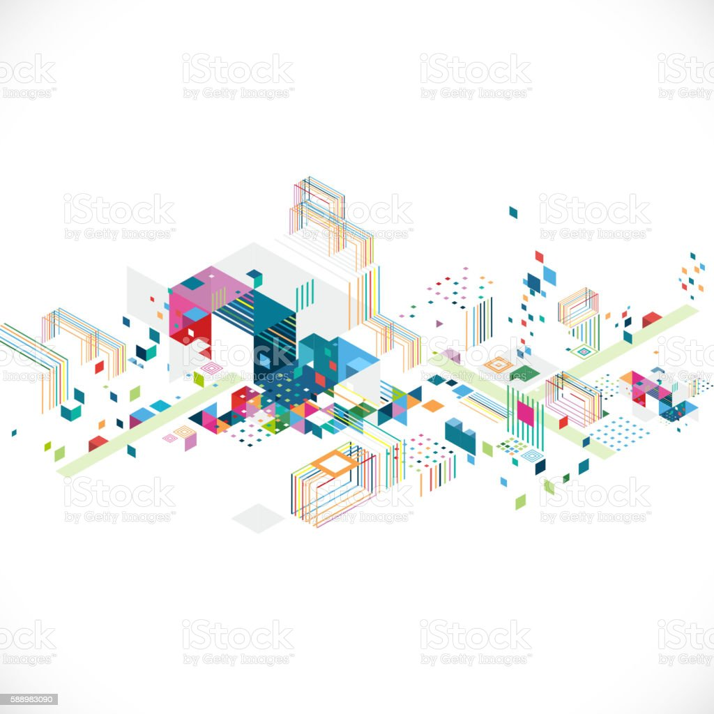 abstract creative geometrical architect and city concept - ilustración de arte vectorial