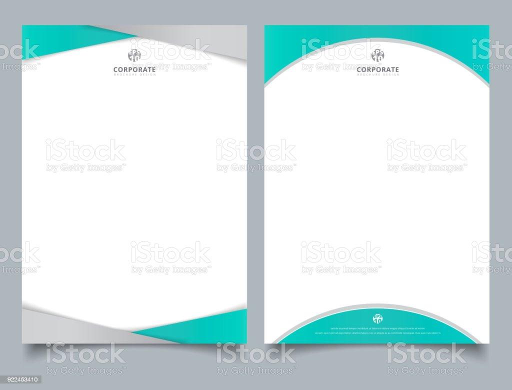 抽象的な創造的なレターヘッド デザイン テンプレート ライトブルー色幾何学的な三角形と曲線図形オーバーレイ白い背景の上。 ベクターアートイラスト