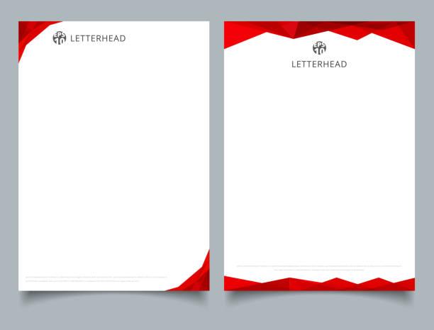 stockillustraties, clipart, cartoons en iconen met abstracte creatieve briefhoofd ontwerp sjabloon rode geometrische driehoek kleurbedekking op witte achtergrond. - triangel
