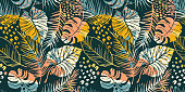 Abstract creative seamless pattern with tropical plants and artistic background. Modern exotic design for paper, cover, fabric, interior decor and other users.