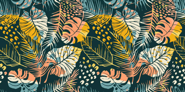Abstract creative seamless pattern with tropical plants and artistic background. Abstract creative seamless pattern with tropical plants and artistic background. Modern exotic design for paper, cover, fabric, interior decor and other users. beach backgrounds stock illustrations
