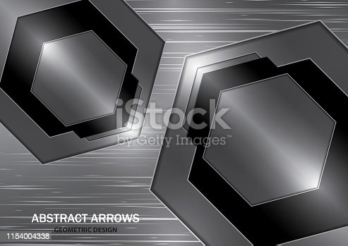 Abstract creative silver and black arrow on metal texture background. Vector illustration for your business design.