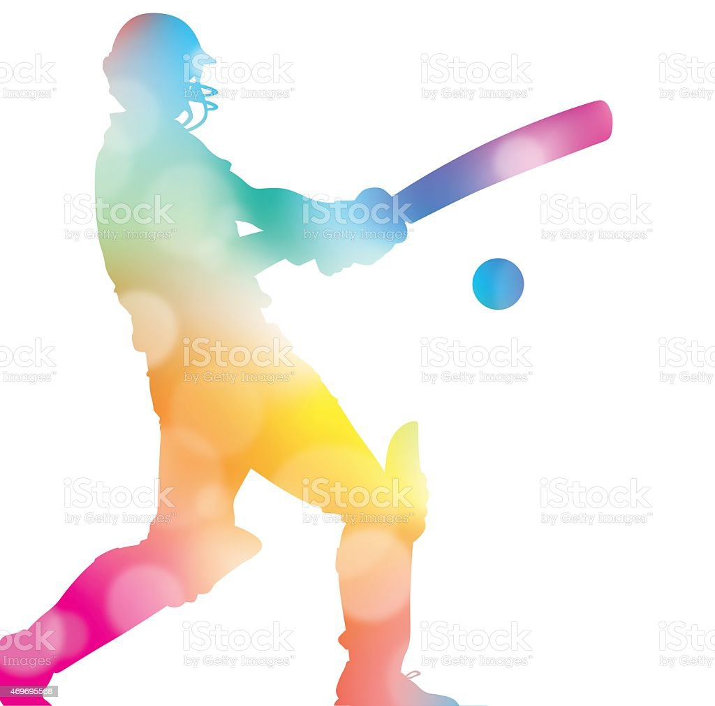 Abstract Cricket Player in Beautiful Summer Haze. - Royalty-free 2015 stock vector