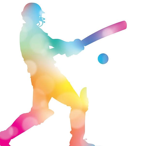 Abstract Cricket Player in Beautiful Summer Haze. vector art illustration