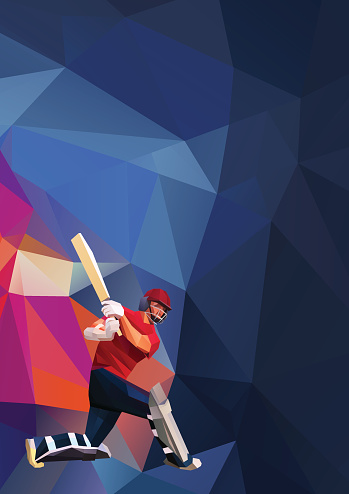 Abstract cricket player polygonal low poly illustration