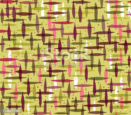 Abstract criss cross hand painted seamless vector pattern. Great for packaging, wrapping paper, stationery, home decor.