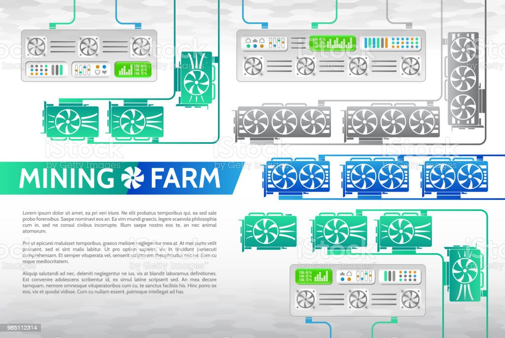 Abstract cryptocurrency mining farm. royalty-free abstract cryptocurrency mining farm stock illustration - download image now