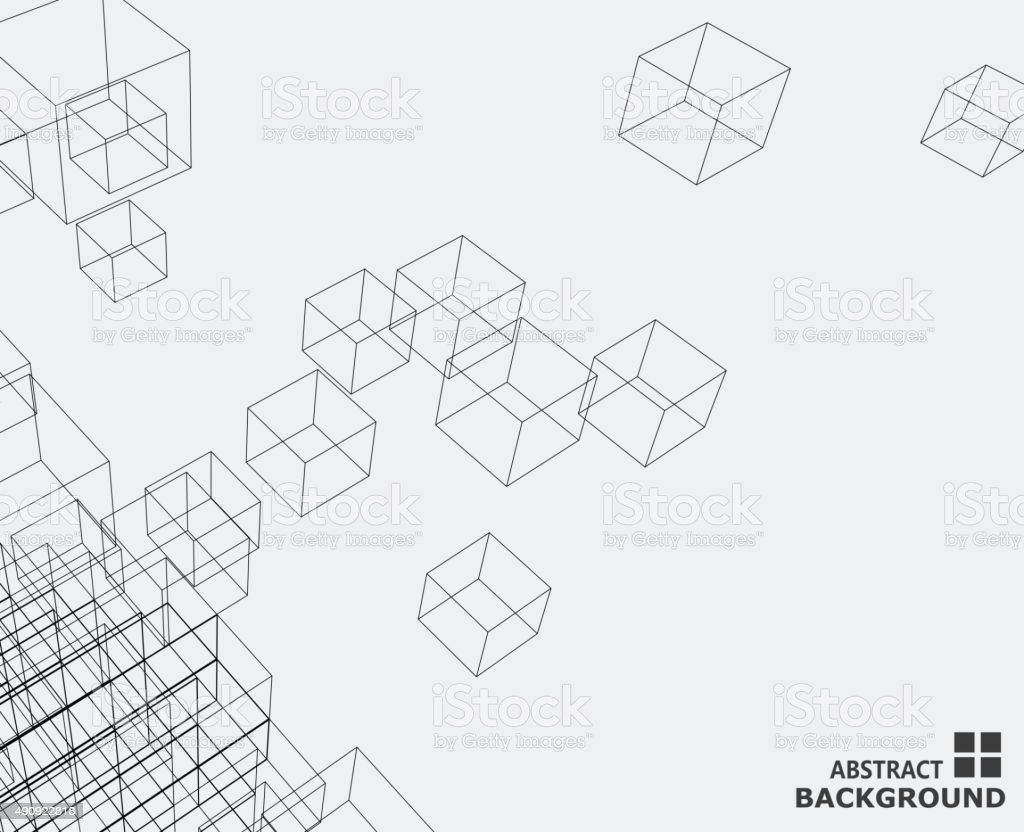 cube abstrait motif de fond - Illustration vectorielle