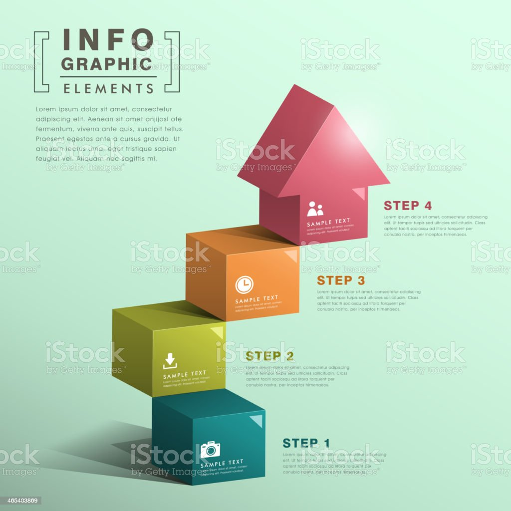 abstract cube stair with house infographics vector art illustration