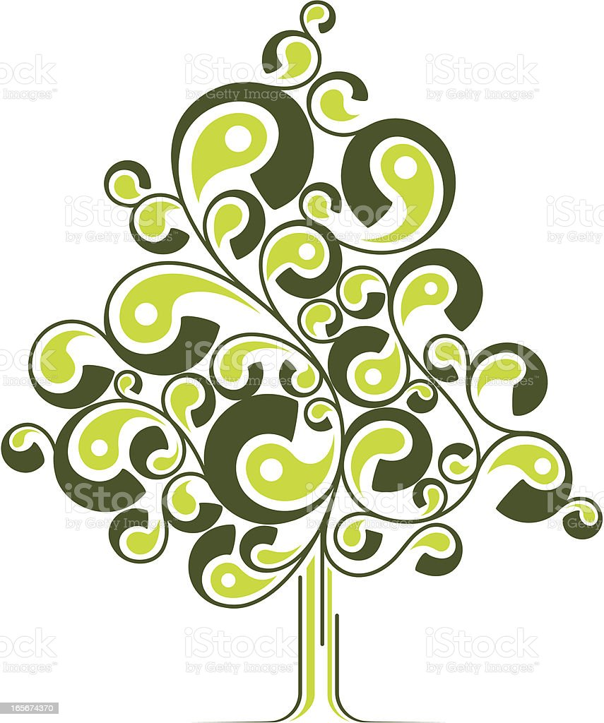 Abstract curly tree vector art illustration