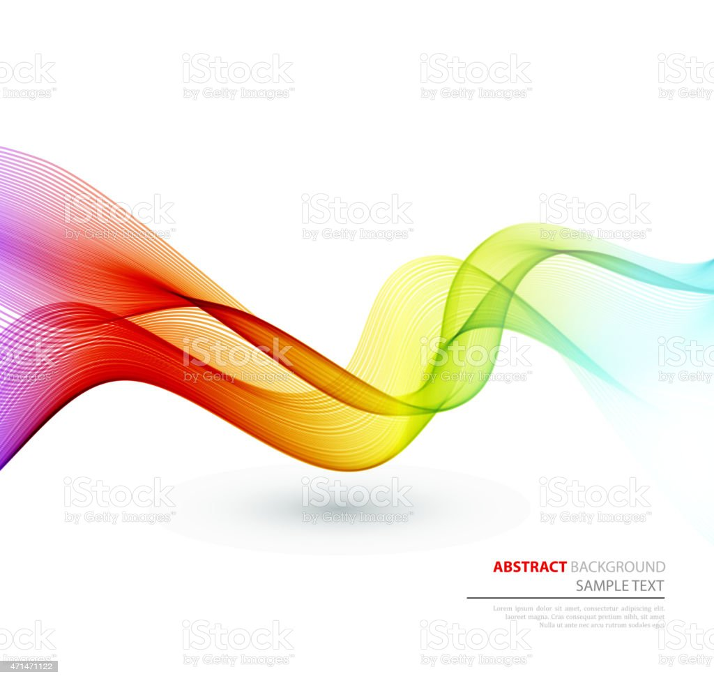 Abstract curved and colorful lines vector art illustration