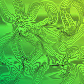 Abstract Curved Lines Background Green Color Wave Pattern