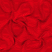 Vector Abstract Curved Lines Background In Red Color Wave Pattern