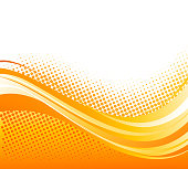 Vector Abstract orange color curved lines background with halftone. Template brochure design. Summer retro style