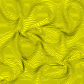Vector Abstract Curved Lines Background Yellow Color Wave Pattern