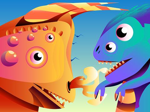 Abstract cute cartoon illustration - Dinosaurs.