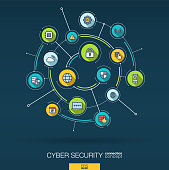 Abstract cyber security background. Digital connect system with integrated circles and flat icons. Network interact interface concept. Virus protection, technology vector infographic illustration