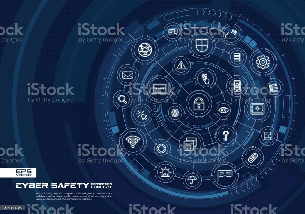 Abstract cyber security background. Digital connect system with integrated circles, glowing thin line icons. vector art illustration