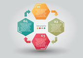 Abstract cycle arrow hexagon business options or step infographics template. Vector illustration can be used for workflow layout, diagram, web design