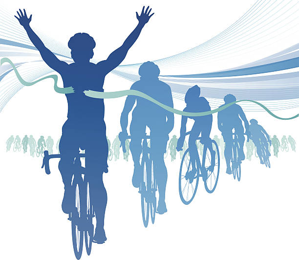 Abstract Cyclist winning the race against competitors. vector art illustration