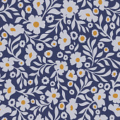 Abstract daisy flowers vector background. Small size meadow flowers with leaves, branches and stems. Floral deamless pattern. Flat simple decorative design. Folk art, vintage style.
