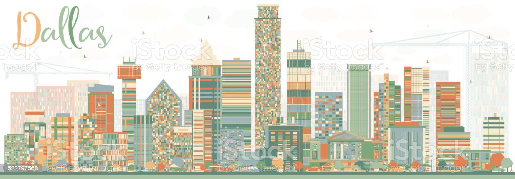 Abstract Dallas Skyline with Color Buildings. Vector Illustration....