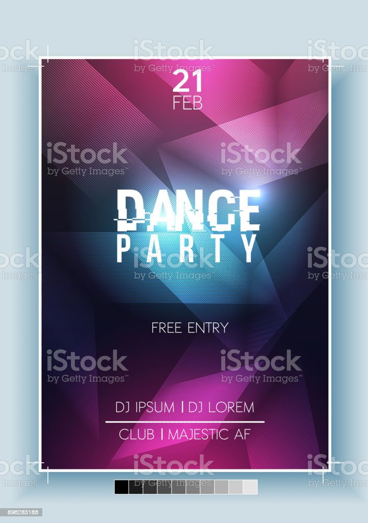 Abstract Dance Party Night Poster, Flyer Template - Vector Illustration vector art illustration