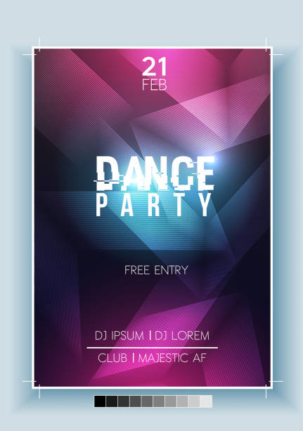 abstract dance party night poster, flyer template - vector illustration - dyskoteka stock illustrations