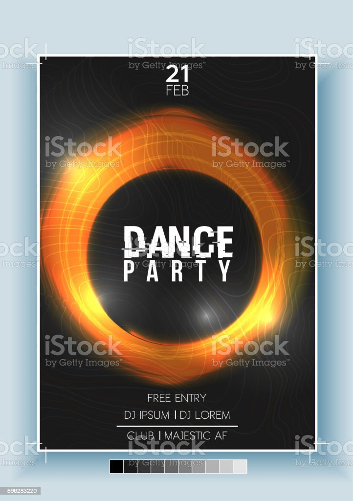 abstract dance party night poster flyer template vector illustration