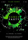 Abstract Dance Party poster template. Watercolor Dance Party design template with space for your text. Dance Party flyer in green and black colors. Vector illustration