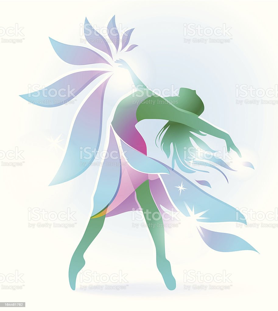 abstract dancing girl with a flower vector art illustration