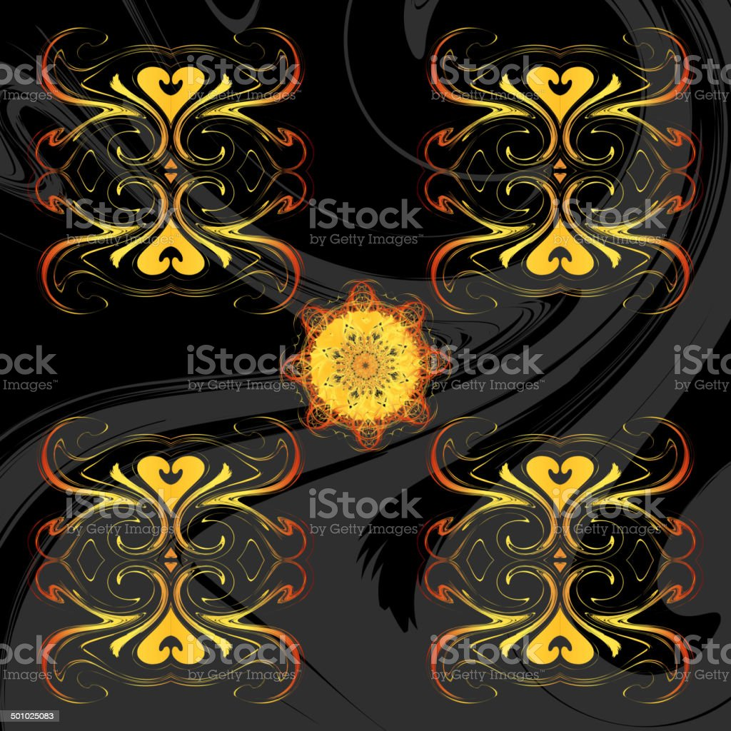 Abstract dark background with rosettes royalty-free stock vector art