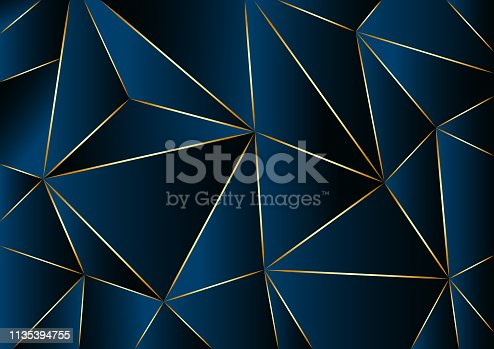 Abstract geometric dark blue background in low poly style. Vector illustration