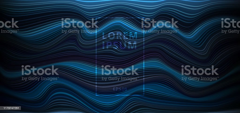 Abstract Dark Blue Background With Horizontal Light And Wave